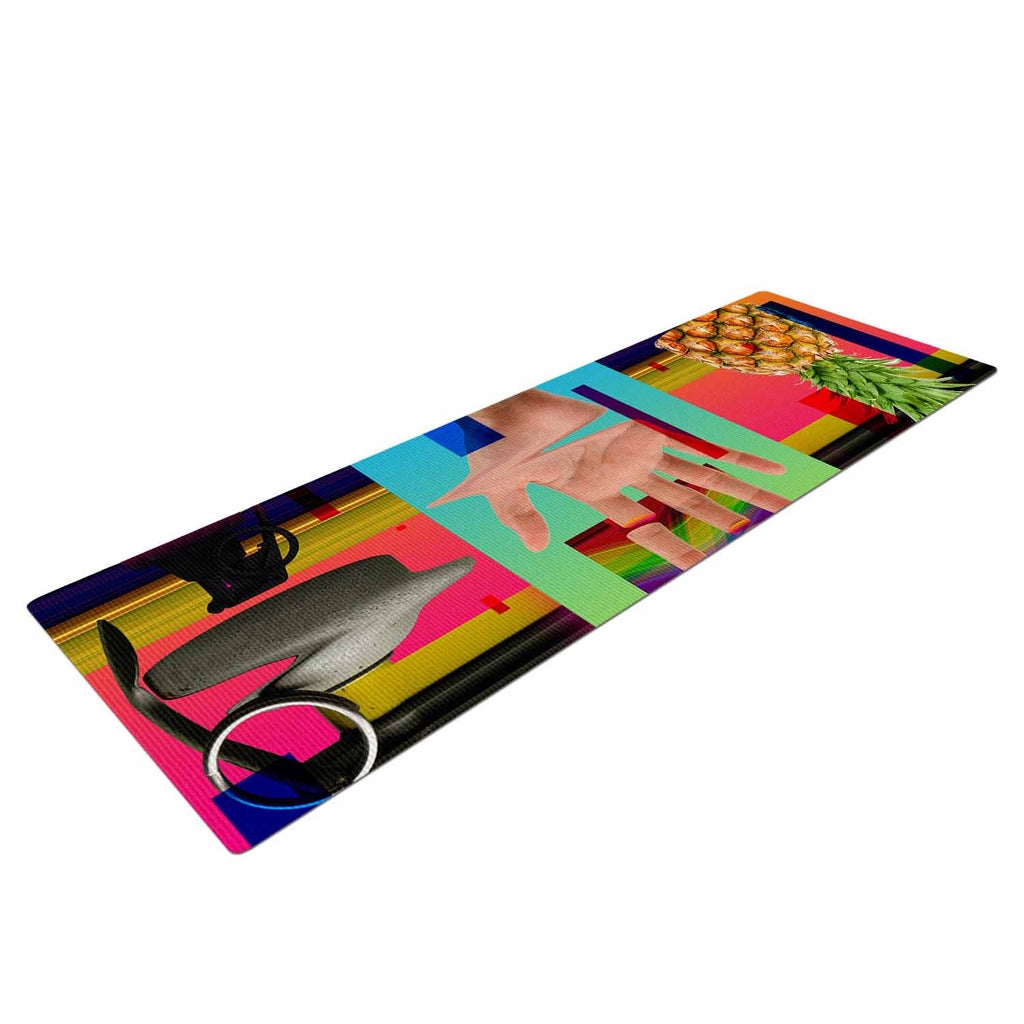 "Roberlan ""Triptic"" Blue Pink Abstract Pop Art Yoga Mat"