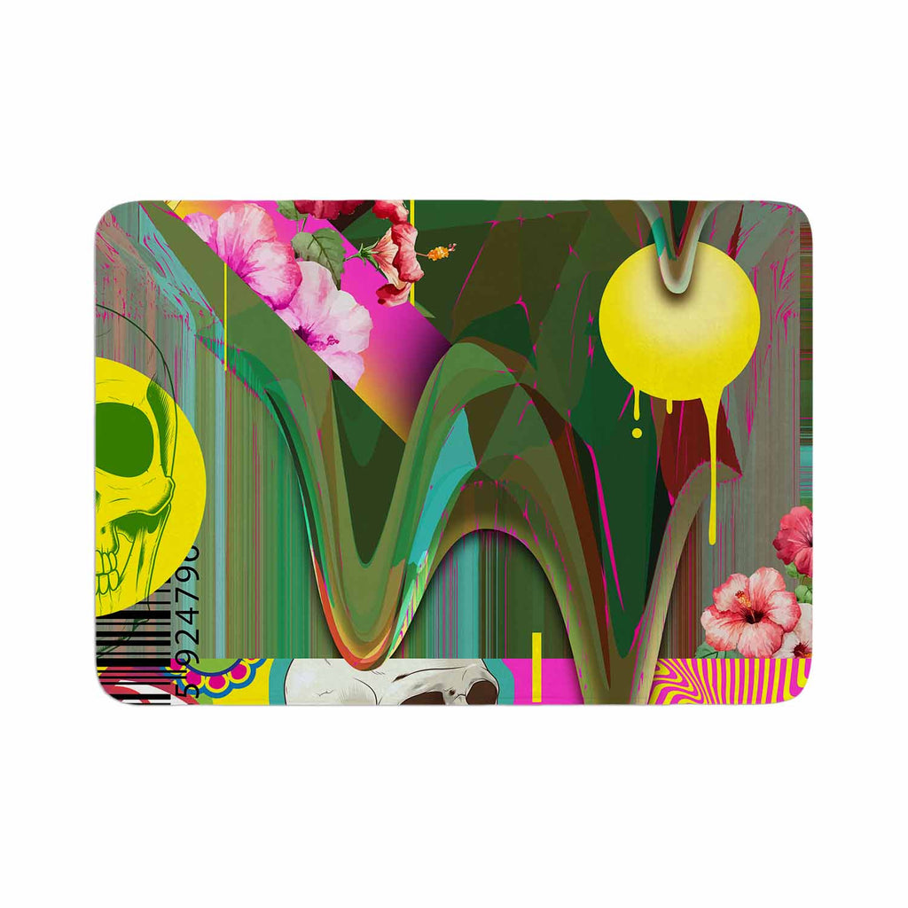 "Roberlan ""Almost Everything Collage"" Green Yellow Abstract Vintage Memory Foam Bath Mat"