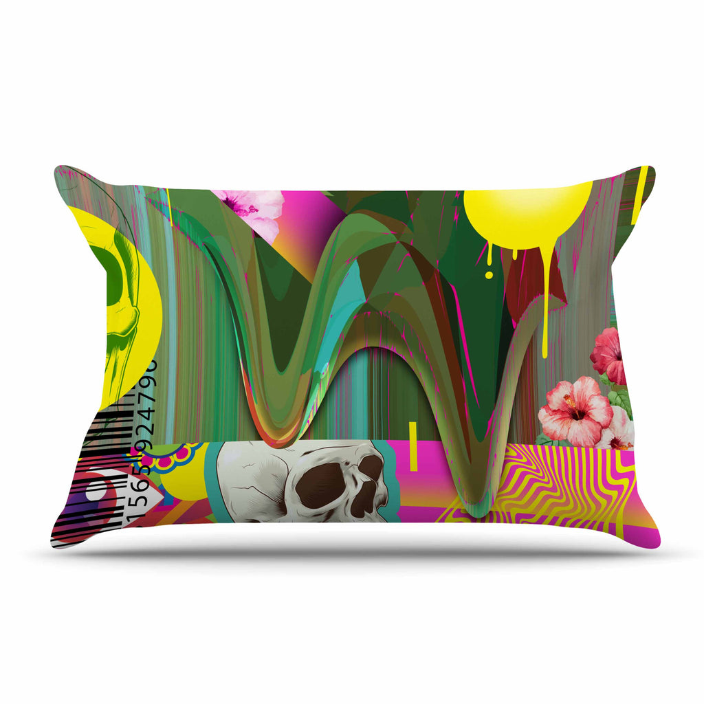 "Roberlan ""Almost Everything Collage"" Green Yellow Abstract Vintage Pillow Sham"