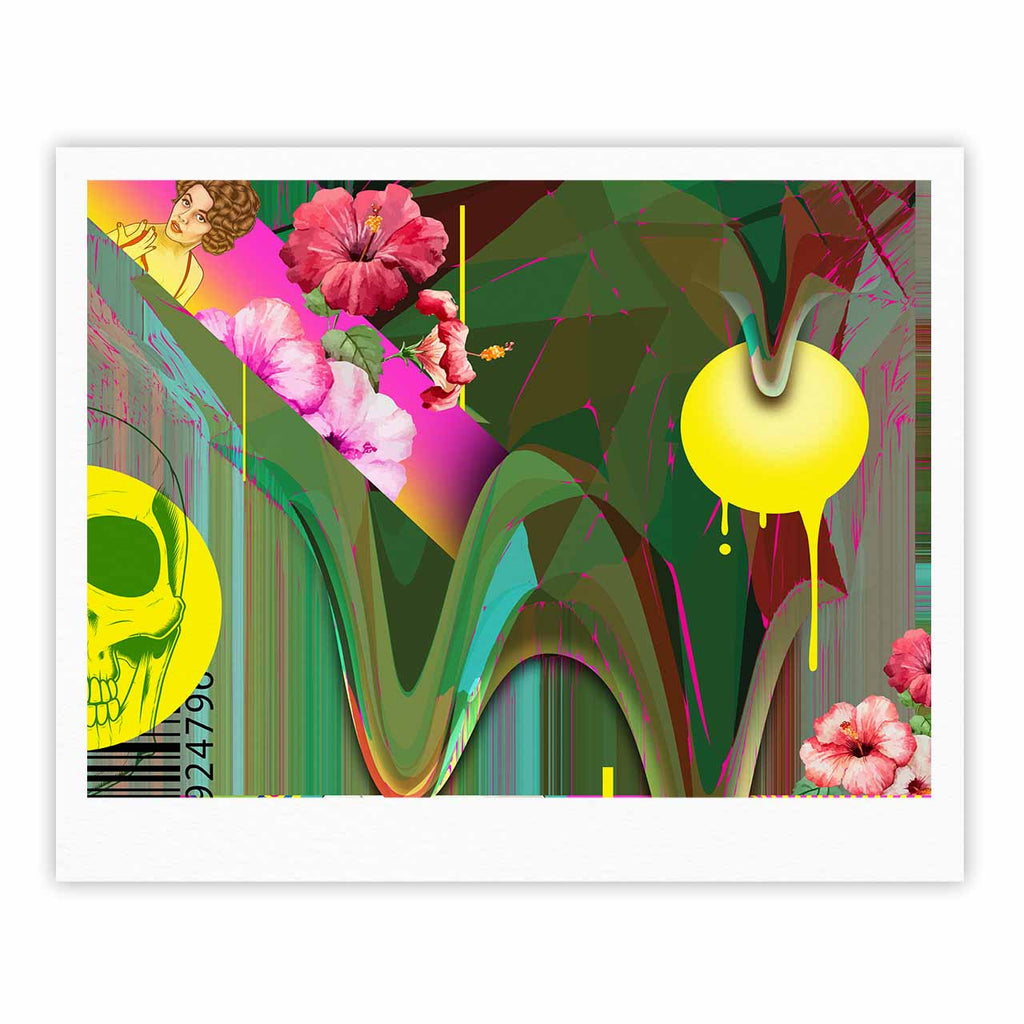 "Roberlan ""Almost Everything Collage"" Green Yellow Abstract Vintage Fine Art Gallery Print"