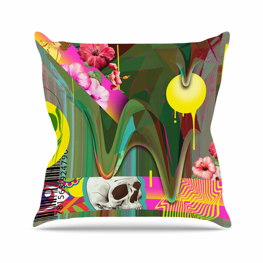 "Roberlan ""Almost Everything Collage"" Green Yellow Abstract Vintage Outdoor Throw Pillow"
