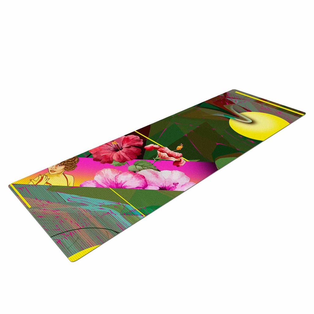 "Roberlan ""Almost Everything Collage"" Green Yellow Abstract Vintage Yoga Mat"