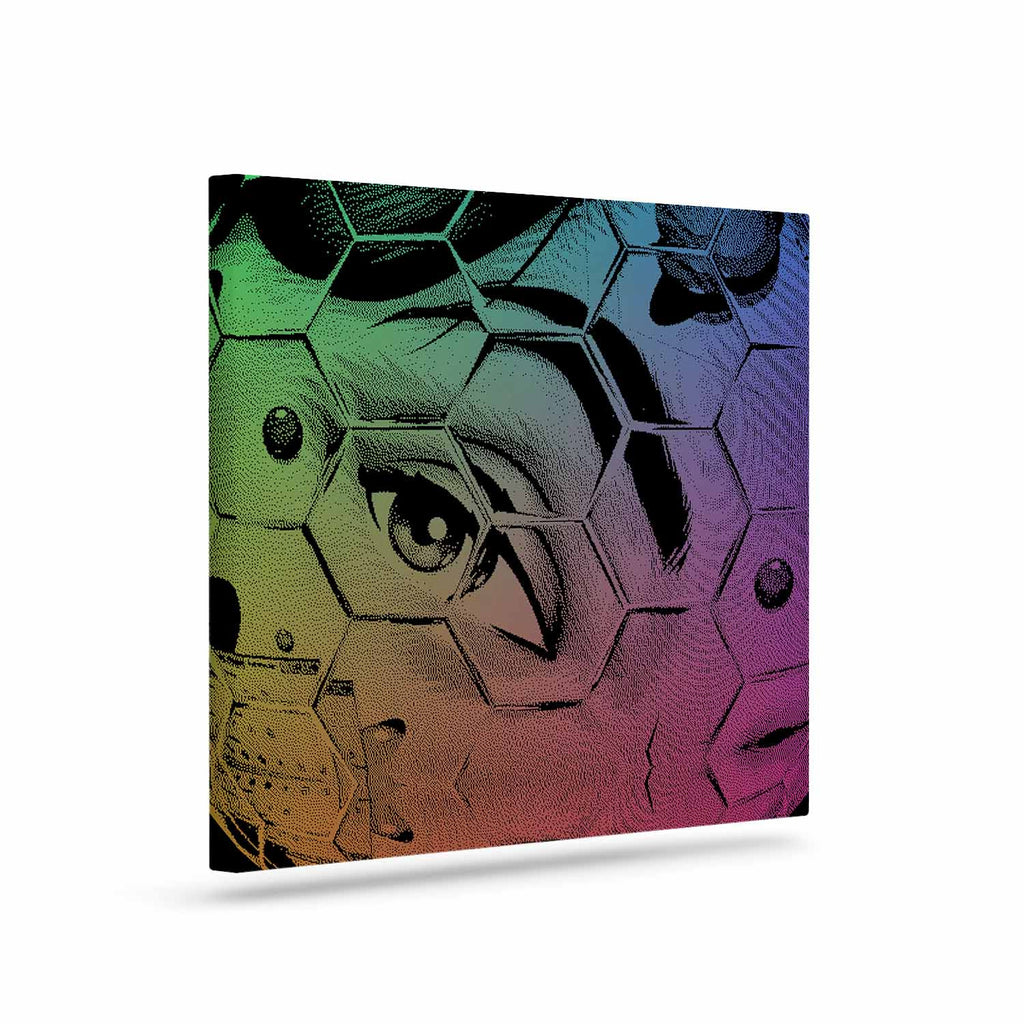 "Roberlan ""HEX Eye Decimal"" Black Green Abstract Pop Art Canvas Art"