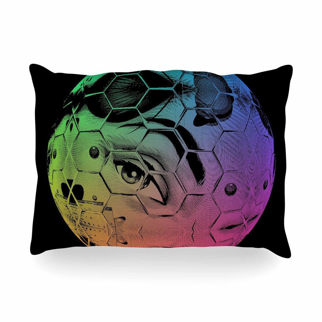 "Roberlan ""HEX Eye Decimal"" Black Green Abstract Pop Art Oblong Pillow"