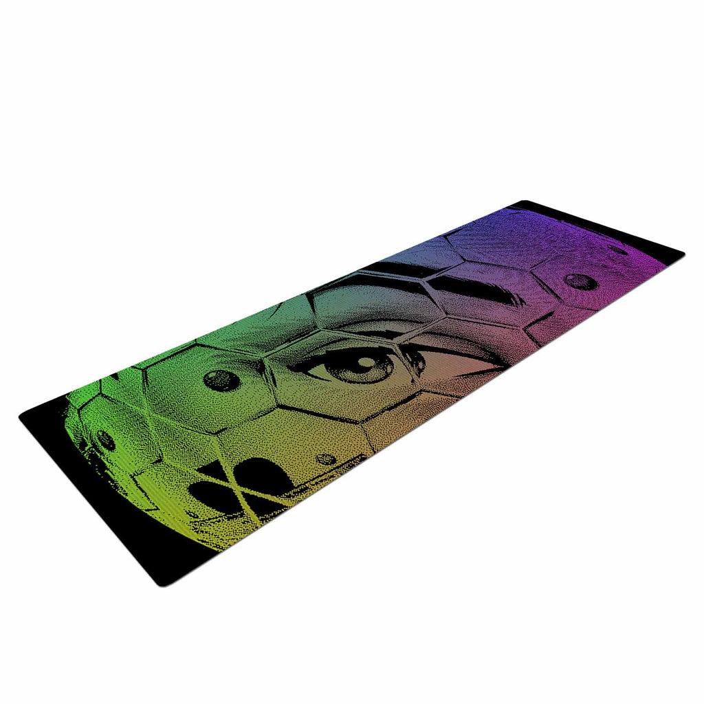"Roberlan ""HEX Eye Decimal"" Black Green Abstract Pop Art Yoga Mat"