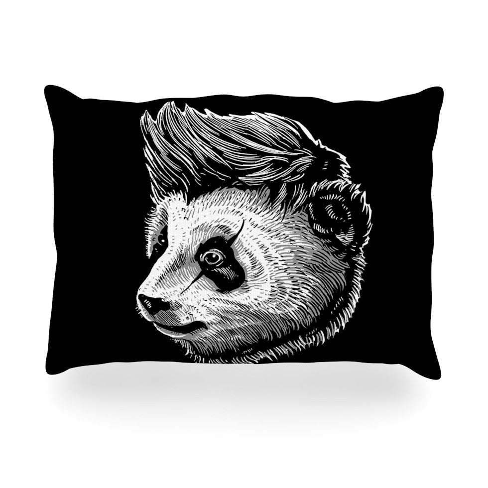 "BarmalisiRTB ""Funky Panda"" Black White Oblong Pillow - KESS InHouse"