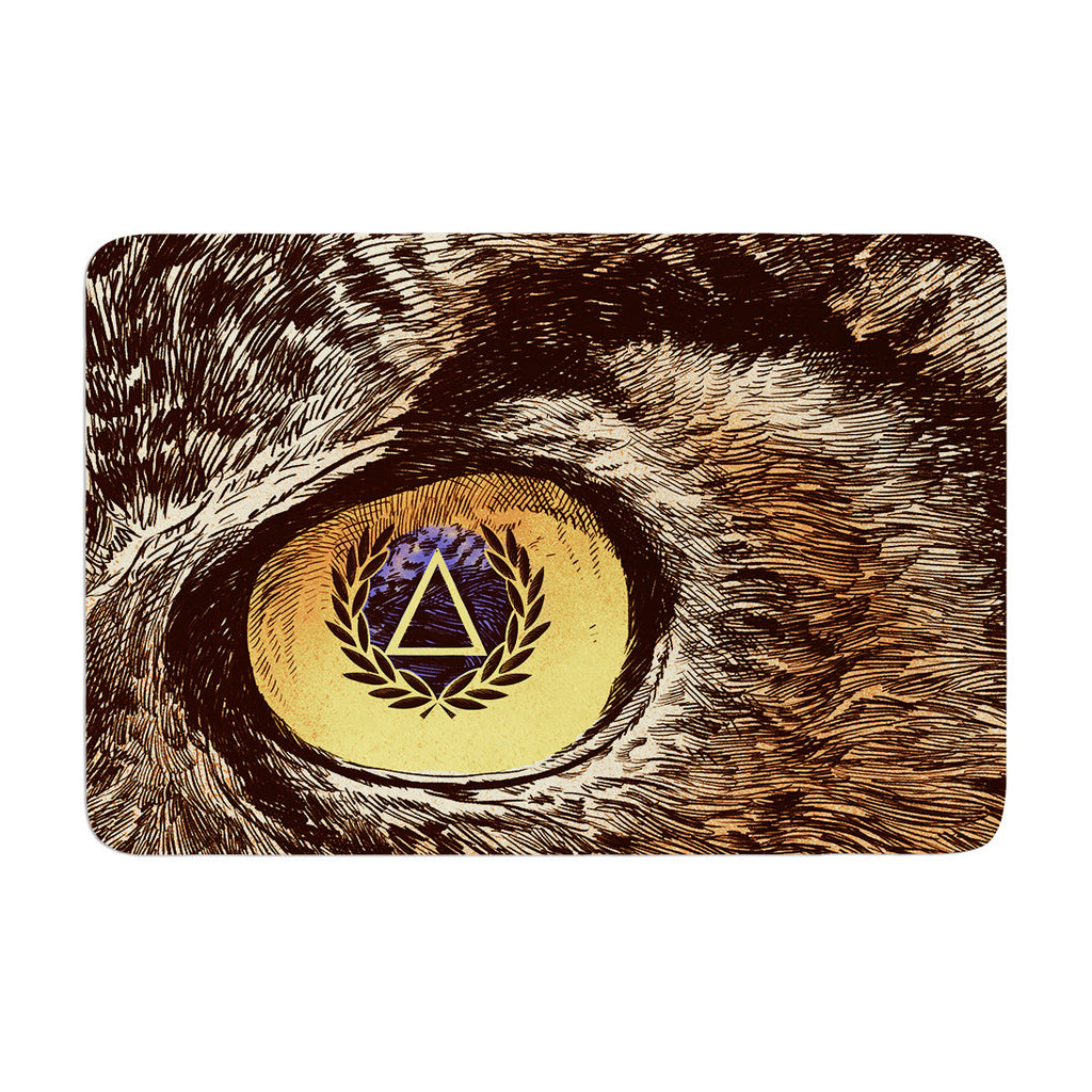 "BarmalisiRTB ""Sharp Eye"" Owl Memory Foam Bath Mat - KESS InHouse"