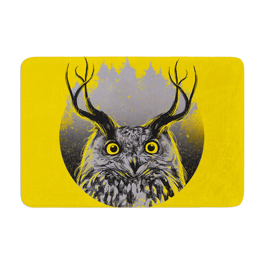 "BarmalisiRTB ""Majesty"" Yellow Owl Memory Foam Bath Mat - KESS InHouse"