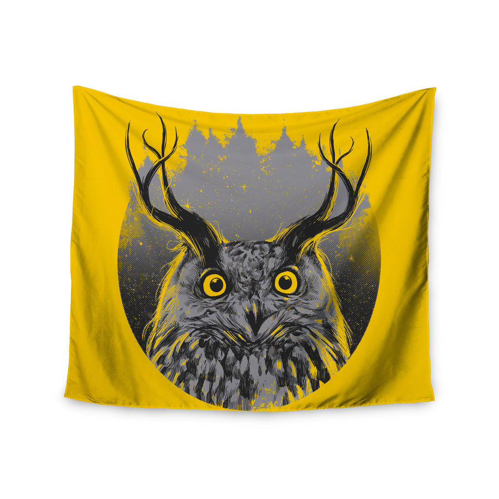 "BarmalisiRTB ""Majesty"" Yellow Owl Wall Tapestry - KESS InHouse  - 1"