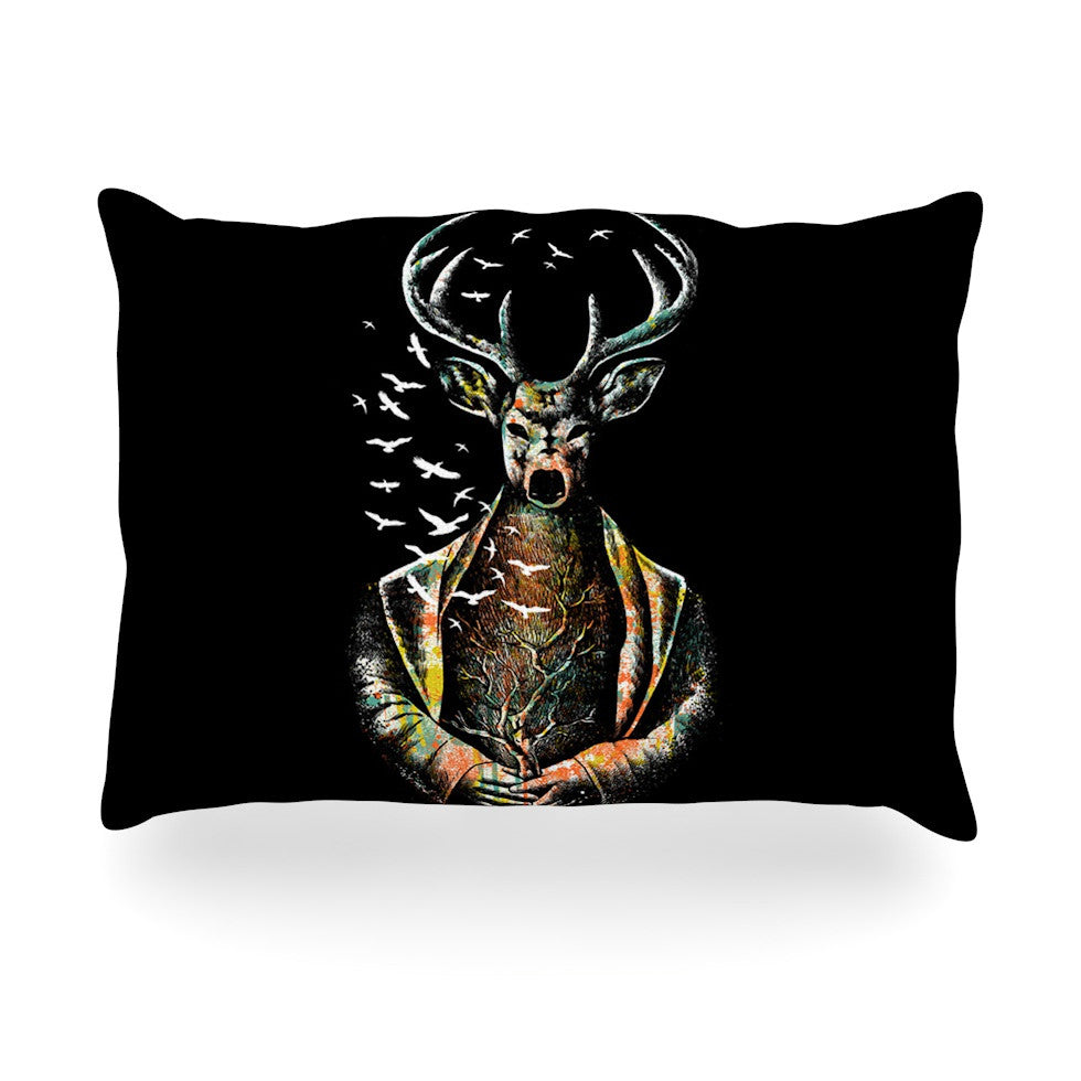 "BarmalisiRTB ""There Is No Place"" Multicolor Deer Oblong Pillow - KESS InHouse"