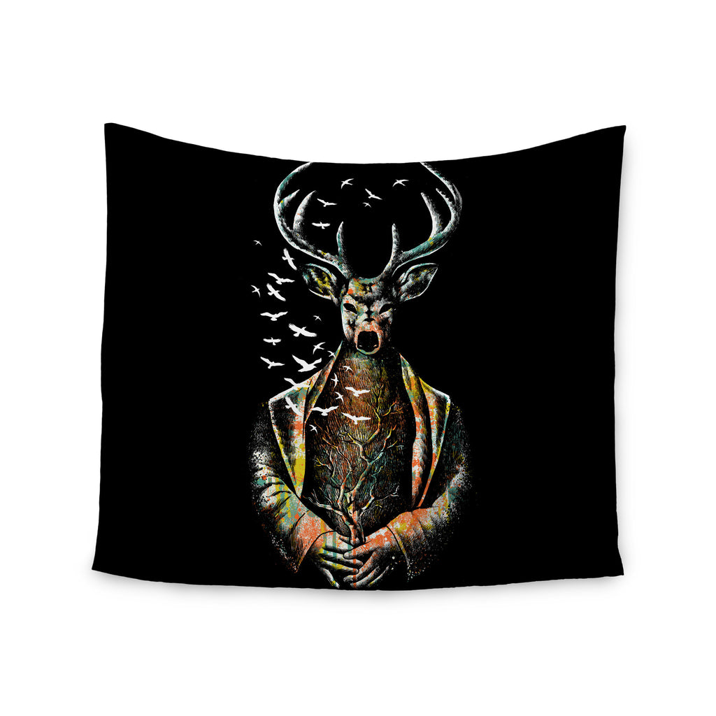 "BarmalisiRTB ""There Is No Place"" Multicolor Deer Wall Tapestry - KESS InHouse  - 1"