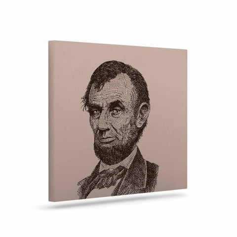 "BarmalisiRTB ""Abraham Lincoln"" Brown Vintage Canvas Art - KESS InHouse  - 1"