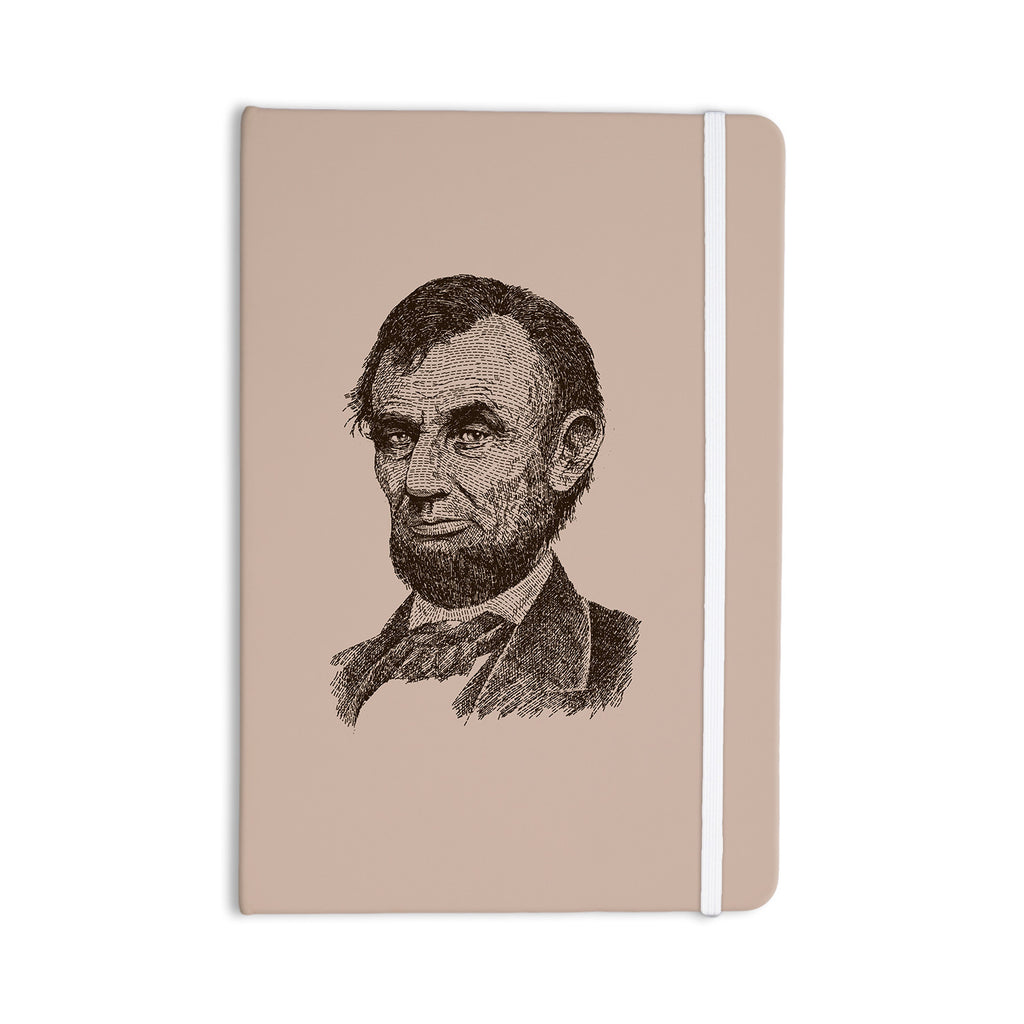 "BarmalisiRTB ""Abraham Lincoln"" Brown Vintage Everything Notebook - KESS InHouse  - 1"