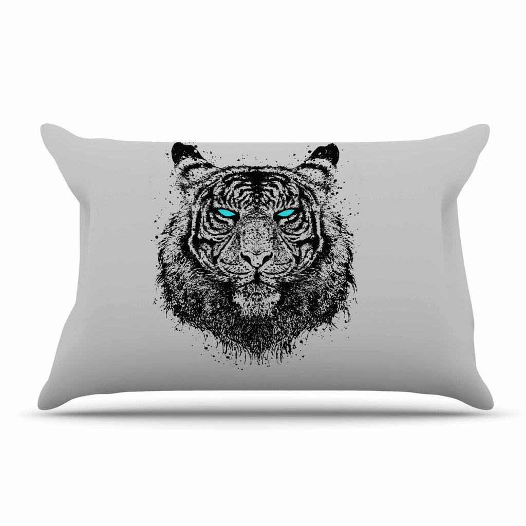 "BarmalisiRTB ""TIger Gaze"" Black Gray Pillow Sham - KESS InHouse"