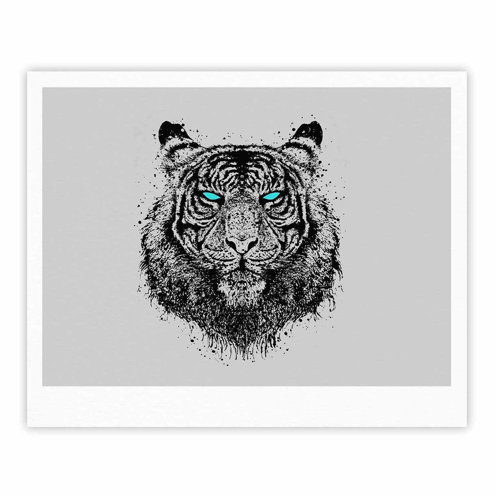 "BarmalisiRTB ""TIger Gaze"" Black Gray Fine Art Gallery Print - KESS InHouse"