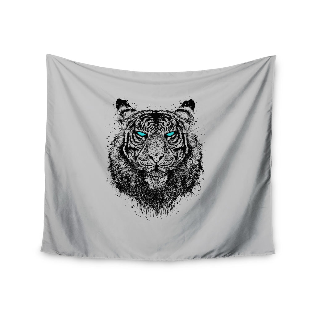 "BarmalisiRTB ""Tiger Gaze"" Black Gray Wall Tapestry - KESS InHouse  - 1"