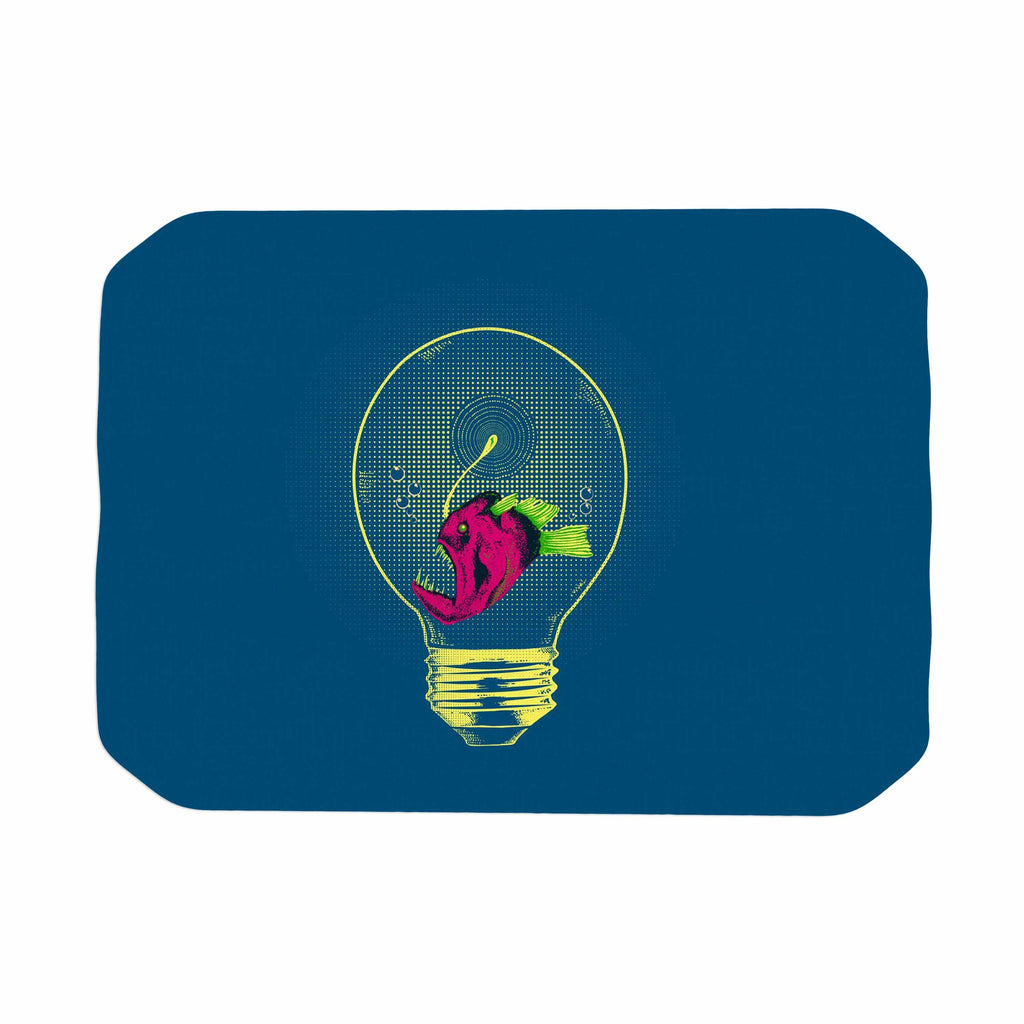 "BarmalisiRTB ""Anglerfish Bulb"" Blue Red Place Mat - KESS InHouse"