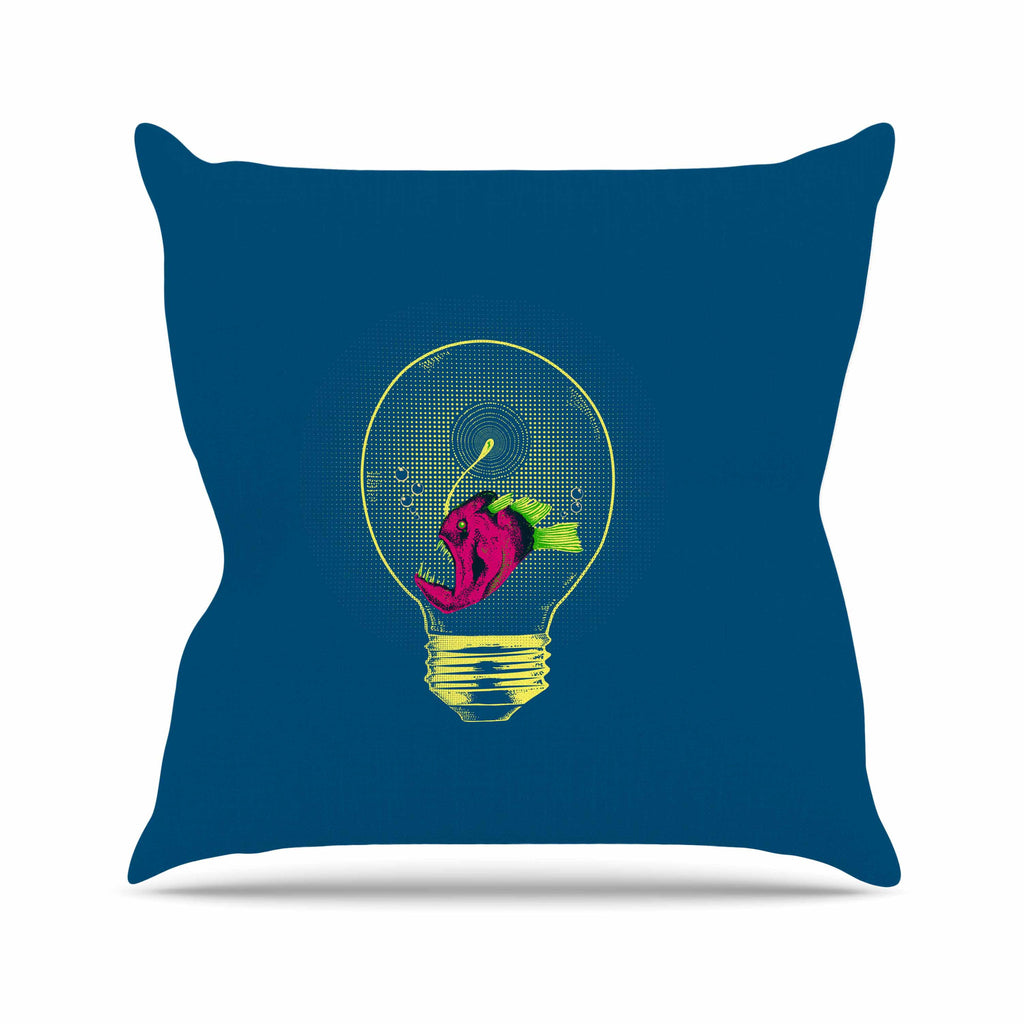 "BarmalisiRTB ""Anglerfish Bulb"" Blue Red Throw Pillow - KESS InHouse  - 1"
