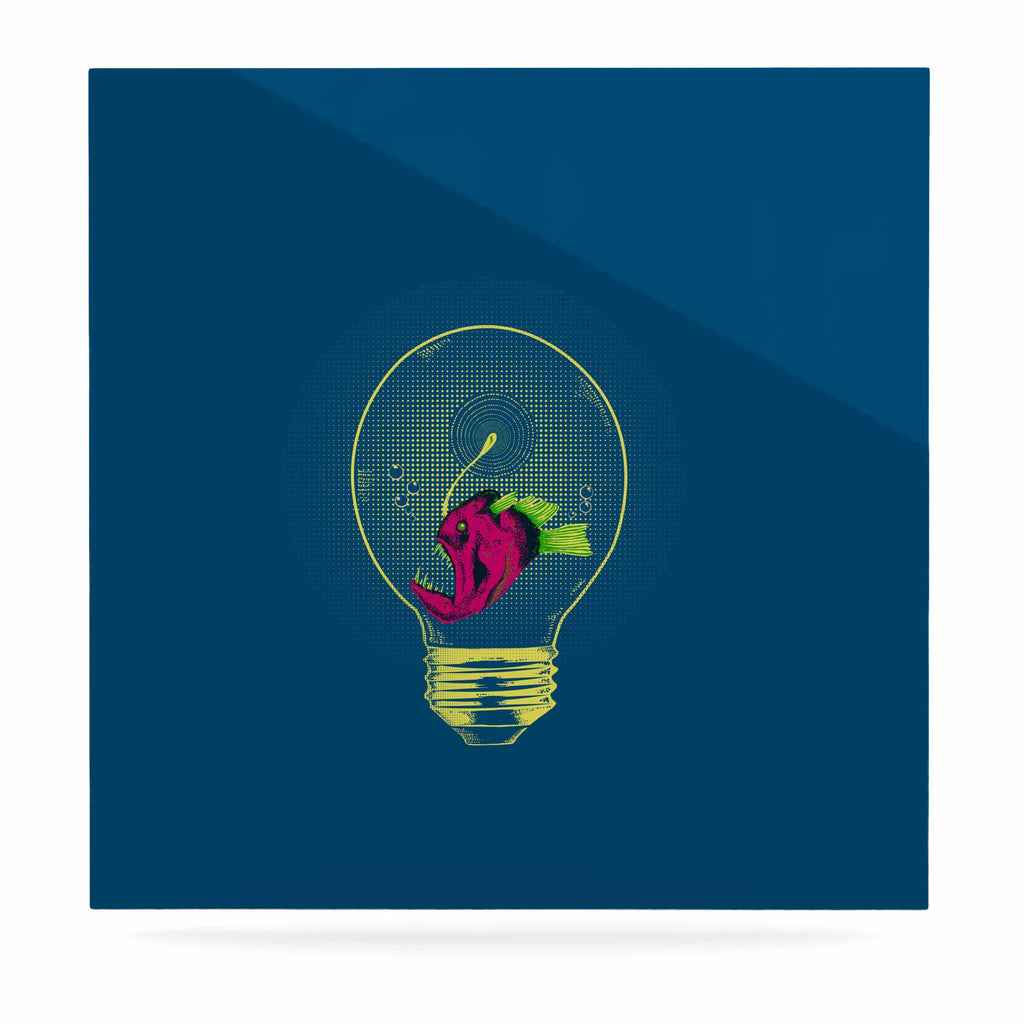 "BarmalisiRTB ""Anglerfish Bulb"" Blue Red Luxe Square Panel - KESS InHouse  - 1"