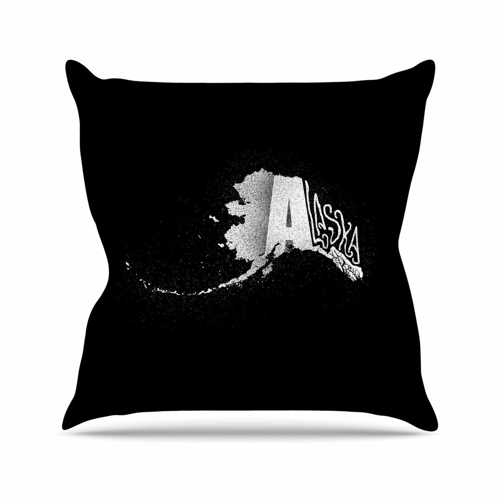 "BarmalisiRTB ""Alaska"" Black White Outdoor Throw Pillow - KESS InHouse  - 1"
