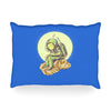 "BarmalisiRTB ""Why In The Cloud"" Blue Yellow Illustration Oblong Pillow"