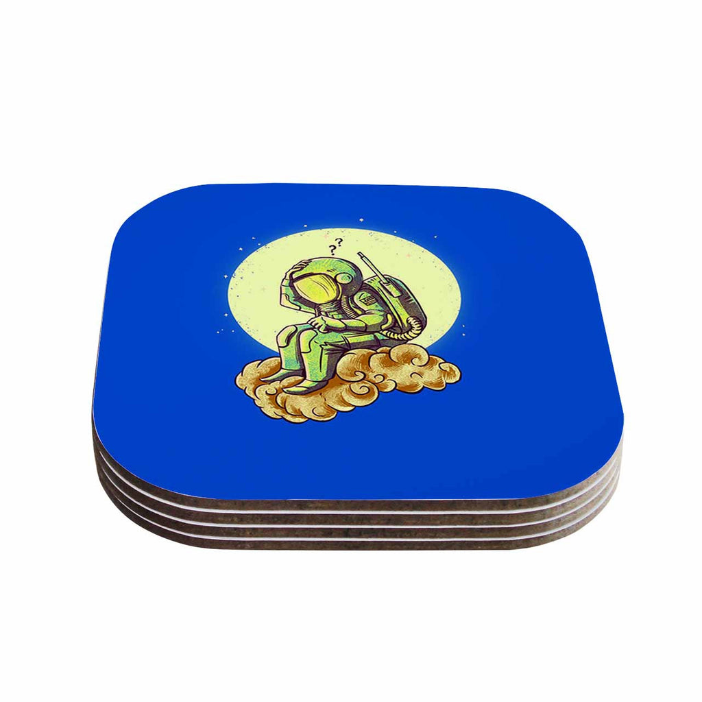"BarmalisiRTB ""Why In The Cloud"" Blue Yellow Illustration Coasters (Set of 4)"