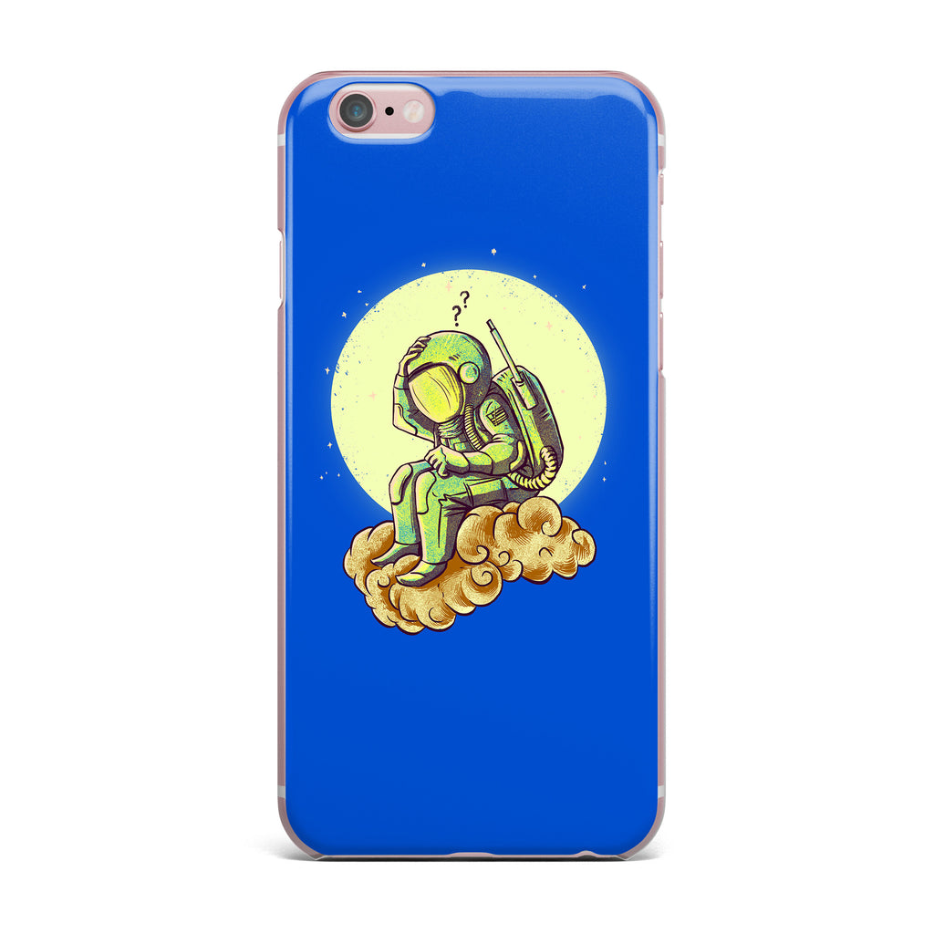 "BarmalisiRTB ""Why In The Cloud"" Blue Yellow Illustration iPhone Case"