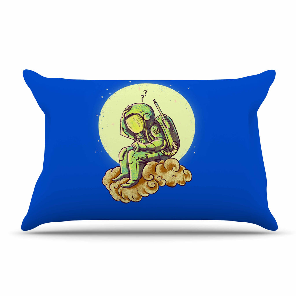"BarmalisiRTB ""Why In The Cloud"" Blue Yellow Illustration Pillow Sham"