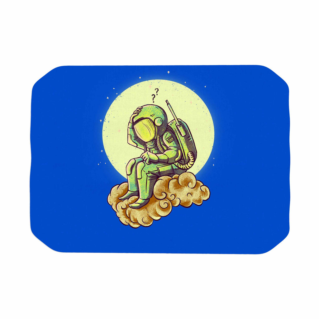 "BarmalisiRTB ""Why In The Cloud"" Blue Yellow Illustration Place Mat"