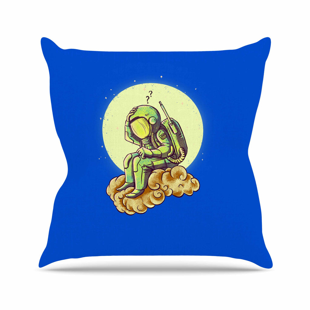 "BarmalisiRTB ""Why In The Cloud"" Blue Yellow Illustration Outdoor Throw Pillow"