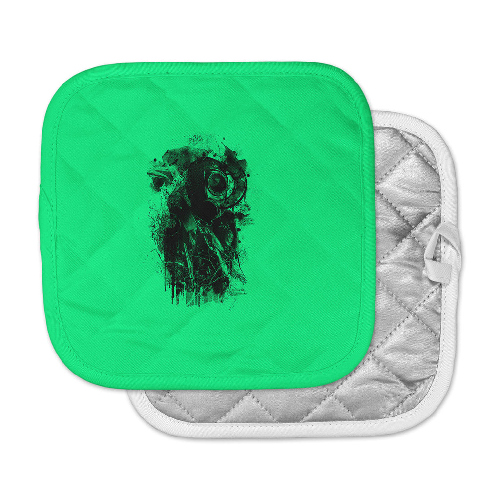 "BarmalisiRTB ""Black Gasmask"" Green Abstract Pot Holder"