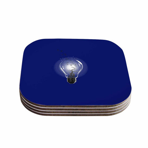 "BarmalisiRTB ""Bulb"" Blue White Coasters (Set of 4) - Outlet Item"