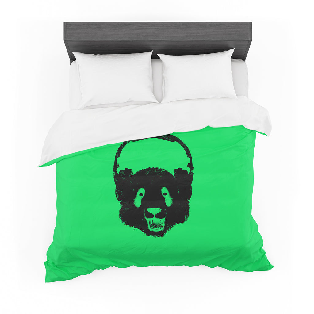 "BarmalisiRTB ""Black Panda"" Black Green Digital Featherweight Duvet Cover"
