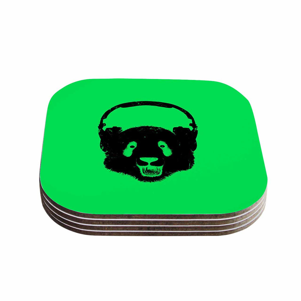 "BarmalisiRTB ""Black Panda"" Black Green Digital Coasters (Set of 4)"