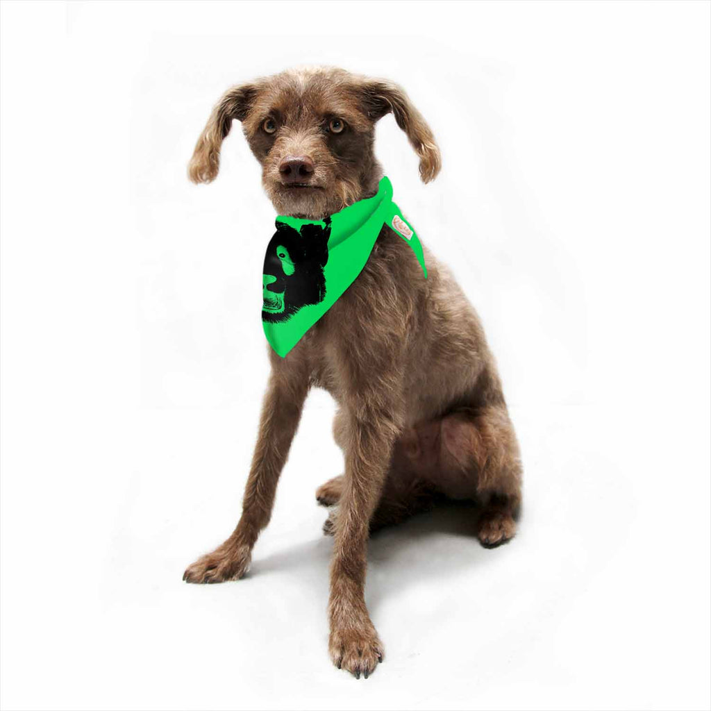 "BarmalisiRTB ""Black Panda"" Black Green Digital Pet Bandana"