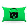 "BarmalisiRTB ""Black Panda"" Black Green Digital Pillow Sham"