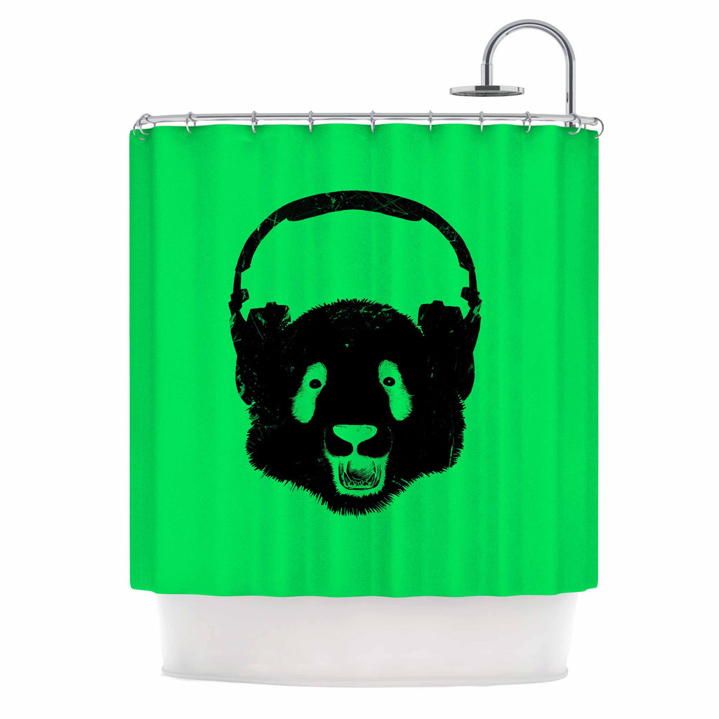 "BarmalisiRTB ""Black Panda"" Black Green Digital Shower Curtain"