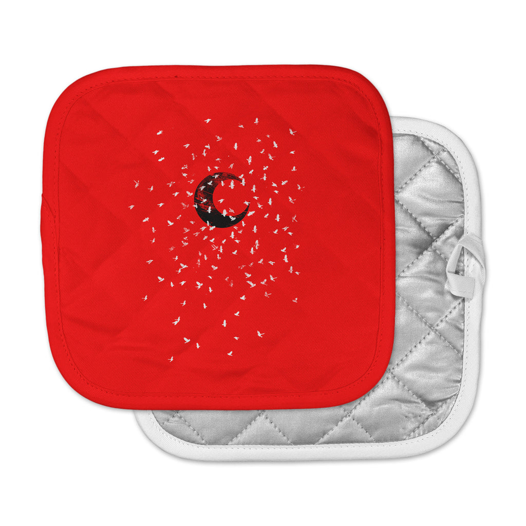 "BarmalisiRTB ""Black Moon"" Red White Pot Holder"