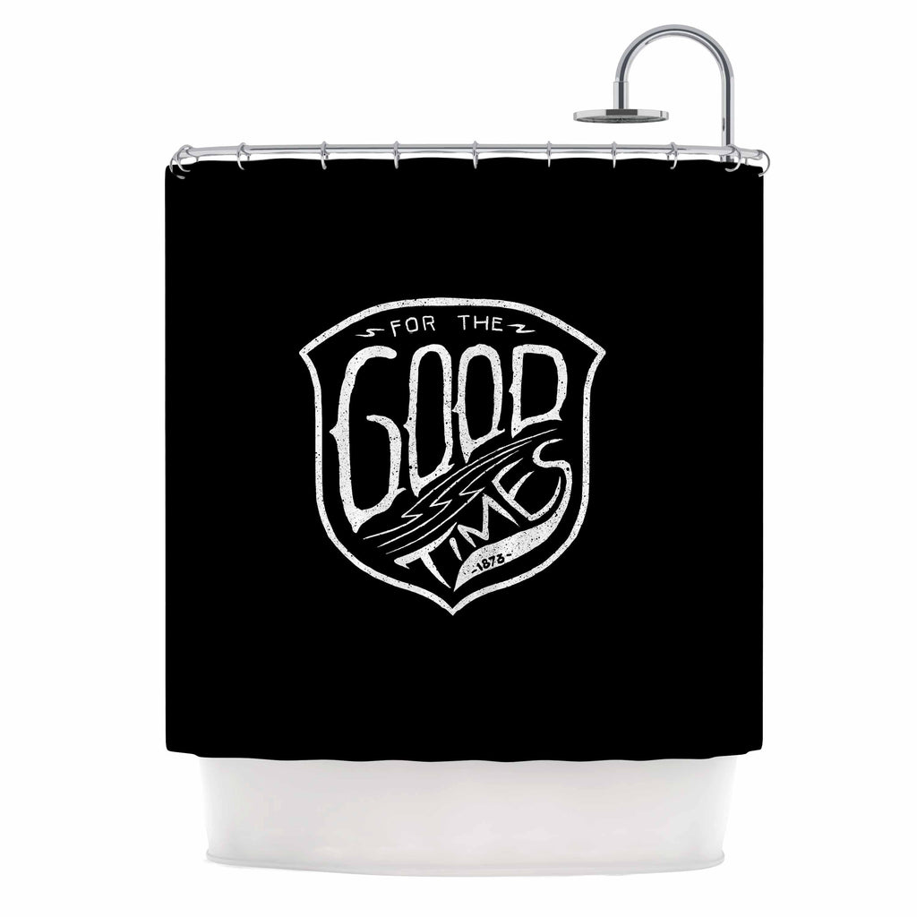 "BarmalisiRTB ""For The Good Time"" Black White Illustration Shower Curtain"