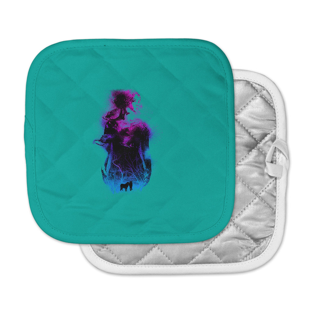 "BarmalisiRTB ""Forest Queen"" Teal People Pot Holder"
