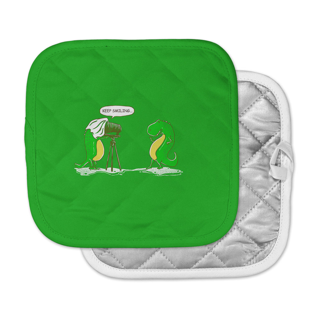 "BarmalisiRTB ""Keep Smiling"" Green Illustration Pot Holder"