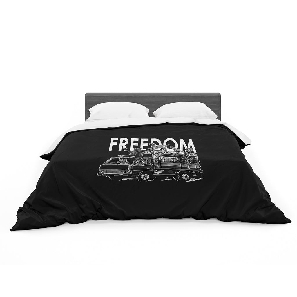 "BarmalisiRTB ""Freedom"" Black White Digital Featherweight Duvet Cover"