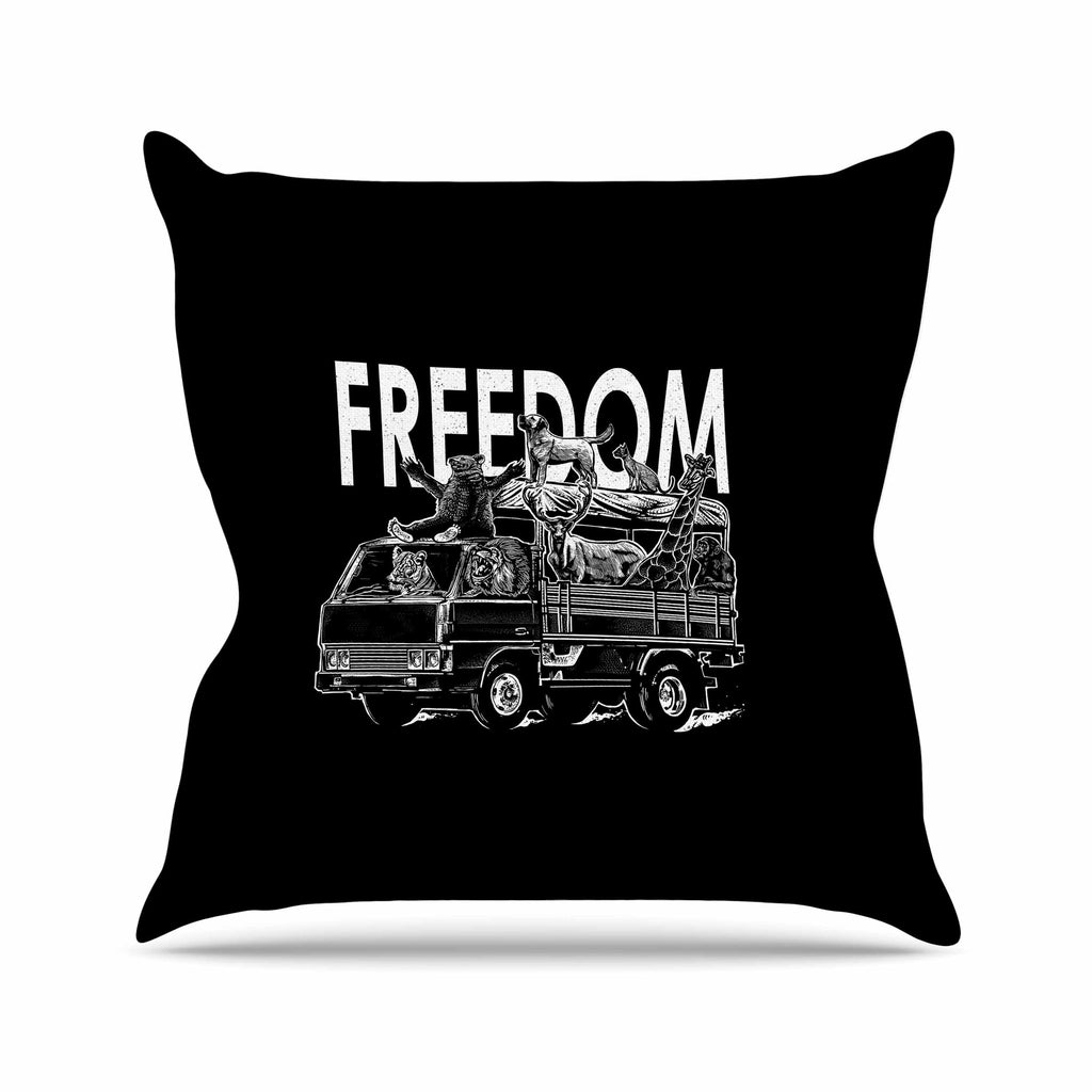 "BarmalisiRTB ""Freedom"" Black White Digital Throw Pillow - KESS InHouse  - 1"