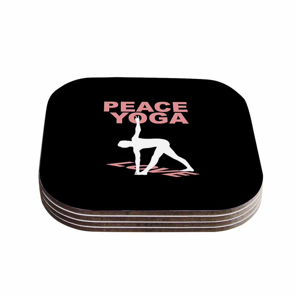"BarmalisiRTB ""Peace Yoga Love"" Pink White Illustration Coasters (Set of 4)"