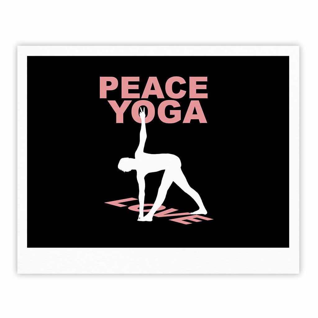 "BarmalisiRTB ""Peace Yoga Love"" Pink White Illustration Fine Art Gallery Print - KESS InHouse"