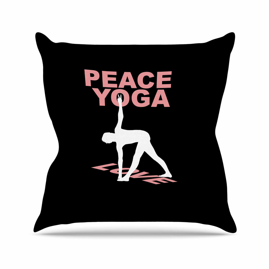 "BarmalisiRTB ""Peace Yoga Love"" Pink White Illustration Outdoor Throw Pillow - KESS InHouse  - 1"
