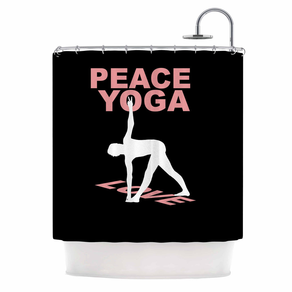 "BarmalisiRTB ""Peace Yoga Love"" Pink White Illustration Shower Curtain - KESS InHouse"