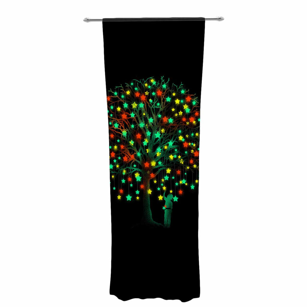"BarmalisiRTB ""Picking Stars"" Multicolor Black Digital Decorative Sheer Curtain - KESS InHouse  - 1"