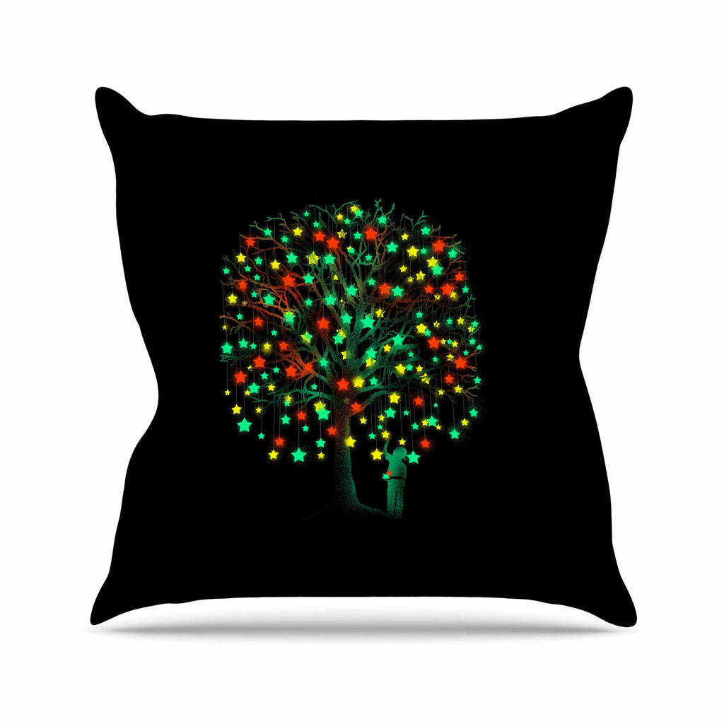 "BarmalisiRTB ""Picking Stars"" Multicolor Black Digital Outdoor Throw Pillow - KESS InHouse  - 1"