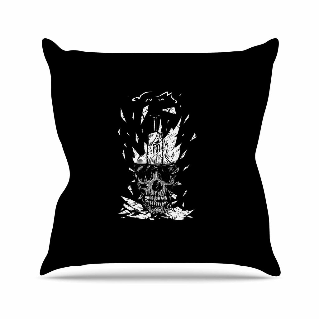 "BarmalisiRTB ""Broken Bulb Skull"" Black White Digital Throw Pillow - KESS InHouse  - 1"